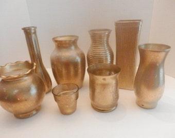 8 Wedding centerpiece, Wedding Gold vase, Distressed gold vases, Flower and candle vases centerpiece, set of vases