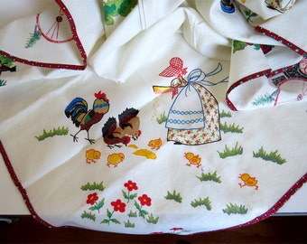 Vintage, Cotton Table Cloth, Picnic tablecloth, Patio tablecloth, Illustrated tablecloths, White background, colorful, Family Friendly