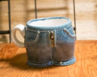 Blue and White Pants Pot Mug