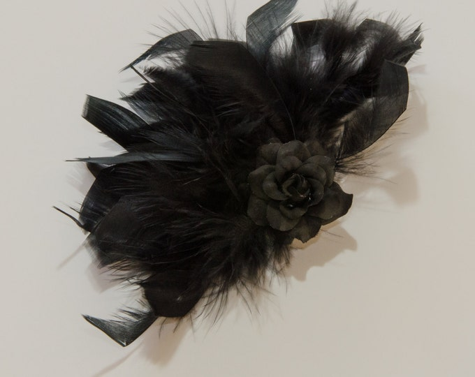 Black Feather Flower Clip