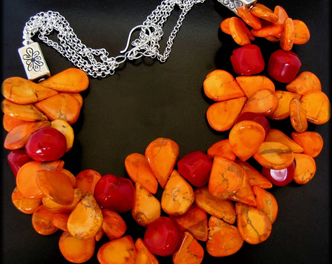 HOT SALSA - Bold Orange Magnasite, Red Coral, Sterling Silver Necklace