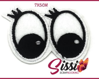 PATCH FUSIBLE eyes eye lashes look black and white patch thermofix fashion fashion diy 70x50mm customisation