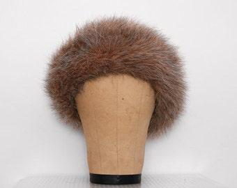 Vintage Brown Faux Fur Hat 1980s