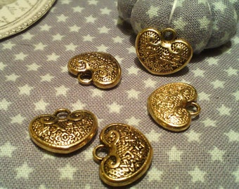 "Set of 5 charms with inscriptions ""longevity"" Chinese antique gold"