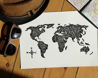 Linocut Print, Map Print, World Map, Home Decor, Block Print, Relief Print, Handmade, Lino Print, Graphic