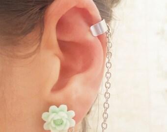 Mint sun flower ear cuff wrap