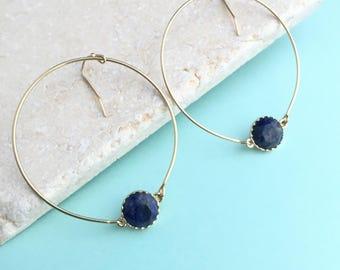 Druzy Earrings,Blue Earrings,Blue Druzy Hoops,Blue Earrings,Dangle Earrings,Thin Minimal Hoop Earrings,Blue Dangle Earrings,Hoop Earrings