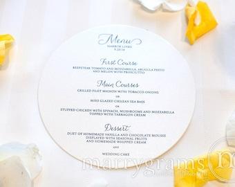 "Round Wedding Menu Cards Featuring Elegant Script - Unique 6"" Plated Wedding Reception Table Menu Cards - CUSTOM COLORS (50 count) SS01"