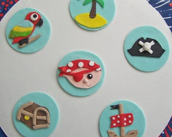 6 Pirate Theme Edible Cupcake Toppers, Pirate with Eye Patch, Treasure Chest, Palm Tree, Parrot, Pirate Ship, Jolly Roger Hat with Skeleton