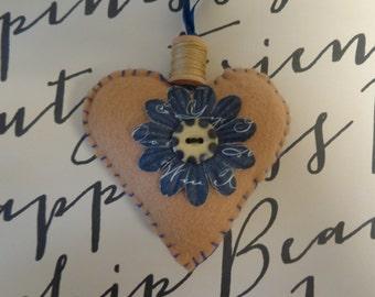 Handmade Beige Heart Ornament by Pepperland