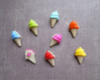30 buttons shaped Ice Cream Cone summer mix colors