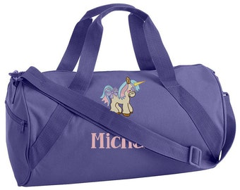 UNICORN Embroidered Duffel Bag - Canvas Duffel Bag - GIRLS Duffel Bag - School Sports Camp Bag Monogrammed Personalized Duffel Bag