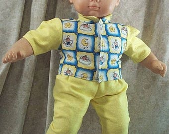 """Doll Clothes Baby Made 2 Fit American Girl 15"""" Boy Shirt Pants Bitty Moons yellow Blue"""