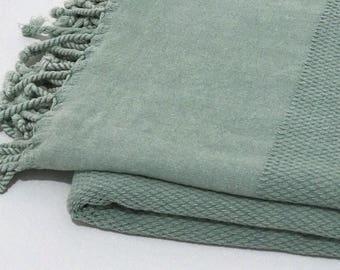 Mint Turkish towel, natural yoga towel, Turkish beach towel, hammam towel, peshtemal, turkish bath towel, stone washed, surf, sauna towel