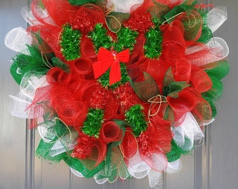 Candy Cane Wreaths, Christmas Wreath, Holiday Wreaths, Red and Green and white Wreath