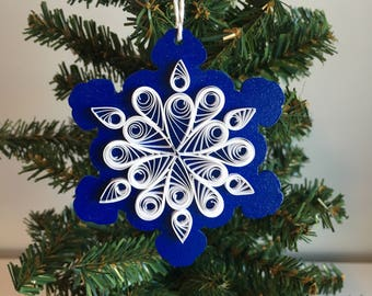 teardrop snowflake ornament paper quilling design * free shipping *