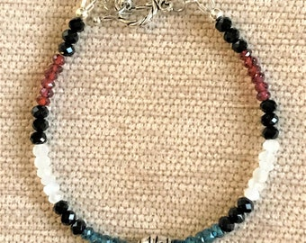 "Handmade RWB 7.5"" Garnet, Moonstone and Blue Topaz Toggle Bracelet"