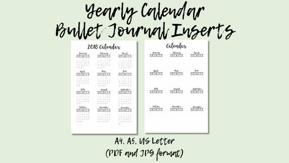 Printable Bullet Journal Inserts Yearly Calendar 2018