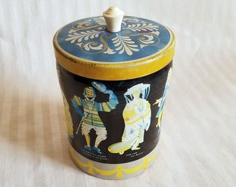 Vintage Opera Characters Tin, Lidded Canister With Plastic Knob Handle.