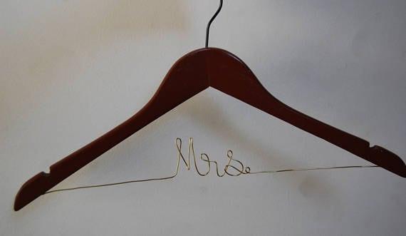 Bride Hanger Wedding Dress Hanger Wire Mrs Hanger Gift