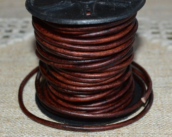 1mm Round Leather Cord Antique Brown Natural Dye 2 yards 1.83m