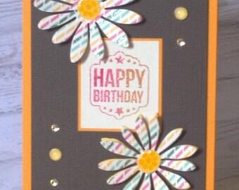 """""""Happy birthday"""" flowers / orange"""
