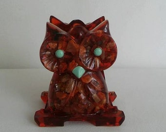 Vintage Resin Lucite Petrified Wood Owl Napkin Holder