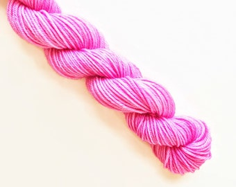 PEONY pink hand dyed yarn mini skein. sock fingering yarn, merino wool superwash knitting embroidery. 4 ply. bright medium pink yarn