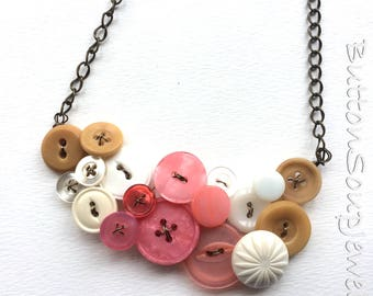 Tan, White, and Coral Pink Large Vintage Button Statement Necklace - Clearance Sale Button Jewelry