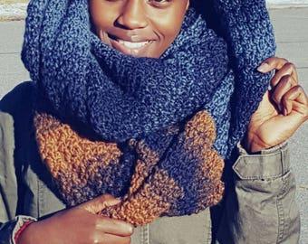 Infinity (eternity) scarf, acrylic, crochet, scarfie yarn, blue, denim, color gradient, yellow, mustard, winter, fall,