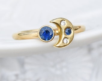 Blue Sapphire Moon and Stars Ring in 18k Gold, Fair Trade Sapphires and Diamonds, Gold Moon Ring, Ethical Gold