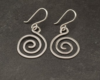 Spiral Earrings Sterling Silver Earrings- Silver Swirl Earrings- Sterling Silver Spiral Earrings- Dangle Earrings- Silver Jewelry