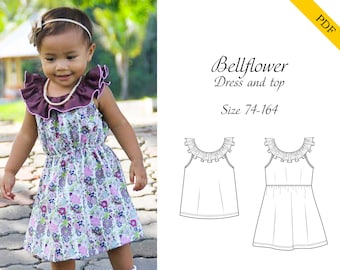 Bellflower dress and top 74-164 PDF sewing pattern, instant download, tutorial
