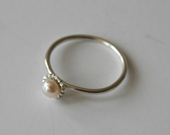 Sterling Silver and Pearl Ring, Pearl RIng, Silver ring, Fancy RIng, Dressy RIng, Small Pearl RIng, Pearl Jewelry, White Pearl, Gift for Her