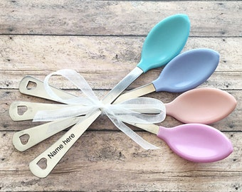SALE//Personalized baby spoons//baby shower gift//handstamped personalized spoons// keepsake