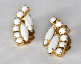 Vintage Milk Glass and Gold Ear Climber Earrings - Enchanting