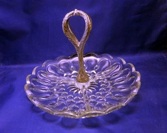Vintage Clear Glass Three Section Tidbit Tray with Silver Handle, 1960s