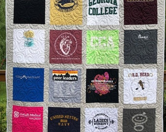 Tee Shirt Quilt, 16 T-shirt Quilt, UpCycled Quilts,  Deposit for T Shirt Quilts, Graduation Quilts