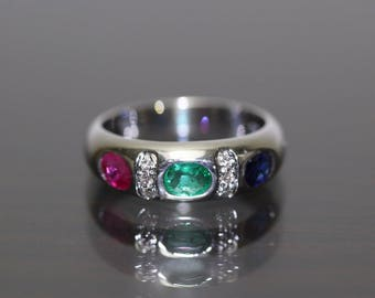 18k White Gold natural untreated Emerald Ruby Sapphire & Diamond ring Band 1.02c