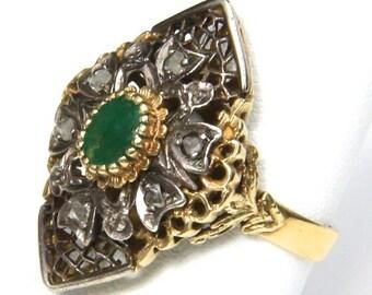 Amazing Antique Emerald Ring 14k White & Yellow Gold with Raw Diamonds Size 8.25