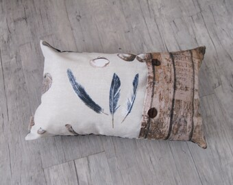 """Pillow Cover 30x50cm (12""""x20""""), Lakehouse decor, Nautical Decor, feather design, Cushion in Handmade, home decoration, house warming,"""