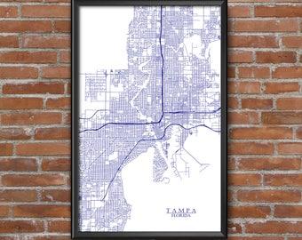 Tampa, Florida Map Art (Tampa Bay Lightning)