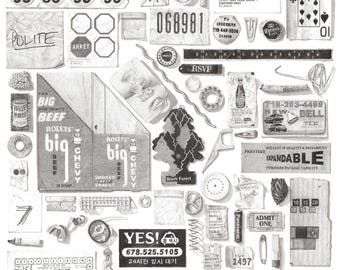 Illustrated Garbage of Brooklyn Print Poster - Black and White Drawing