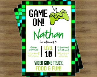 Girls video game birthday party invitation girls video game game truck party video game truck party invitation video game invitation video game birthday invitations gamer birthday invitations stopboris Choice Image