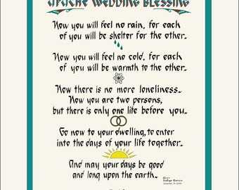 Personalized Authentic  Apache Wedding Blessing. FREE US SHIPPING! Unique lettering & design by artist/calligrapher Jacqueline Shuler