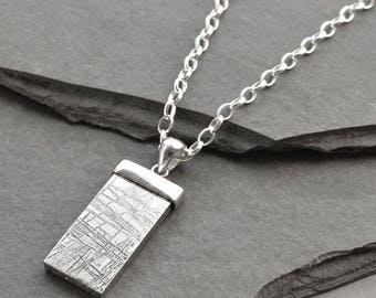 Muonionalusta  Meteorite Silver Tipped Necklace
