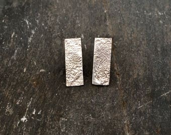 Statement Earrings, Silver Studs, Sterling Silver, Rectangle Studs, Modern Design, Minimal Silver Earrings, Handmade Stud Earrings
