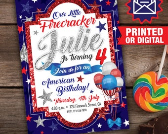 Printed or Digital - 4th of July Invitation, Printable 4th of July, 4th of July Party, 4th of July Birthday, Fourth of July invitations