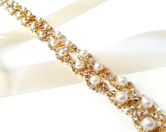 Sash - Gold Crystal Pearl Weave Bridal Belt Sash in GOLD - Custom Satin Ribbon - Rhinestone Pearl Wedding Dress Belt - Extra Long Longest