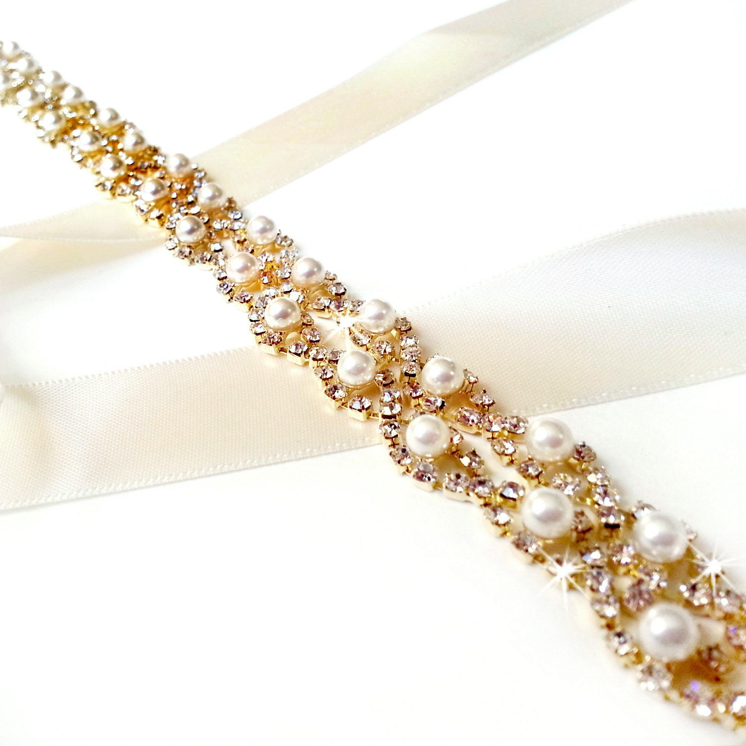 Sash Gold Crystal Pearl Weave Bridal Belt Sash in GOLD